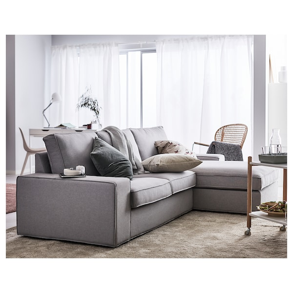 KIVIK Sofa, With Chaise/Orrsta Light Gray - IKEA