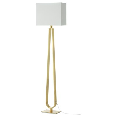 """KLABB Floor lamp with LED bulb, off-white/brass color, 59 """""""