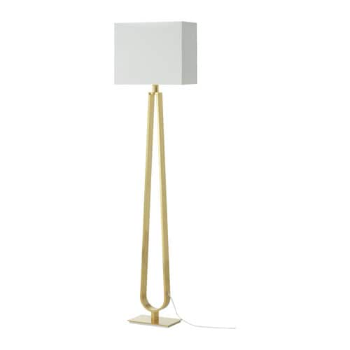 KLABB Floor lamp with LED bulb, off-white, brass color