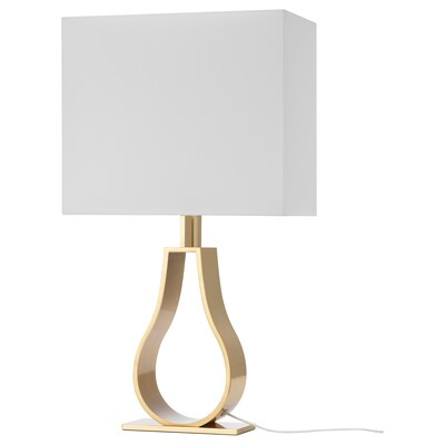 """KLABB Table lamp with LED bulb, off-white/brass color, 17 3/8 """""""