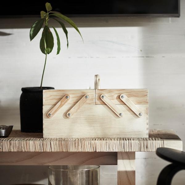"KLÄMMEMACKA Desk organizer, natural plywood, 13 ¾x8 ¾ """