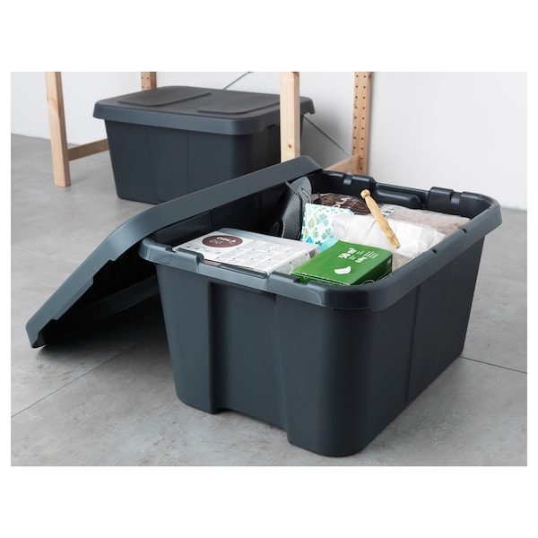 KLÄMTARE Box with lid, indoor/outdoor, dark gray, 22 ¾x17 ¾x11 ¾ ""