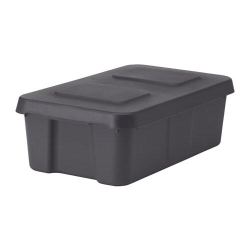 KLÄMTARE Box with lid, indoor/outdoor, dark gray dark gray 10 ¾x17 ¾x6