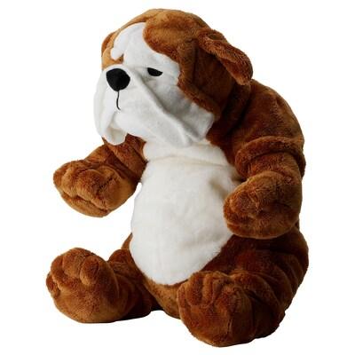 KLAPPAR soft toy bulldog brown/white