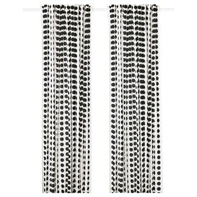 "KLARASTINA curtains, 1 pair white/black 98 "" 57 "" 2 lb 15 oz 39.07 sq feet 2 pack"