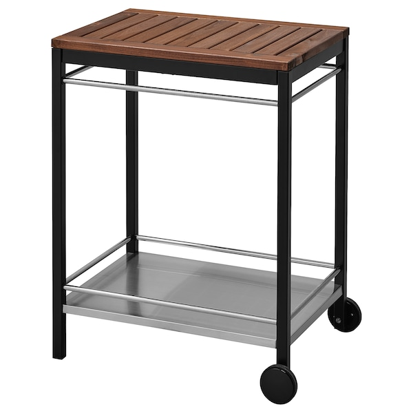 """KLASEN serving cart, outdoor stainless steel/brown stained 29 1/8 """" 22 1/2 """" 35 3/8 """""""