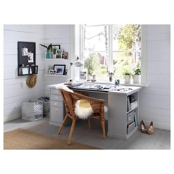 "KLIMPEN Table leg with storage, light gray, 22 7/8x27 1/2 """