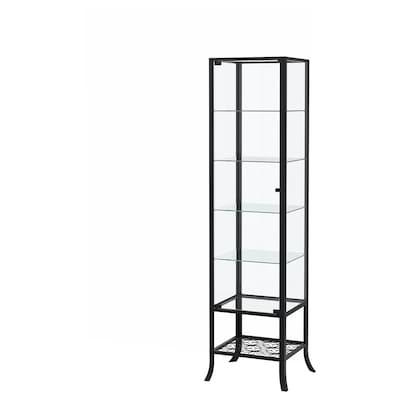 "KLINGSBO glass-door cabinet black/clear glass 17 3/4 "" 15 3/4 "" 70 7/8 "" 15 lb"
