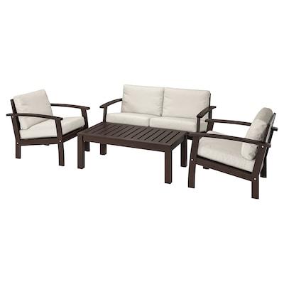 KLÖVEN 4-seat conversation set, outdoor, brown stained/Frösön/Duvholmen beige