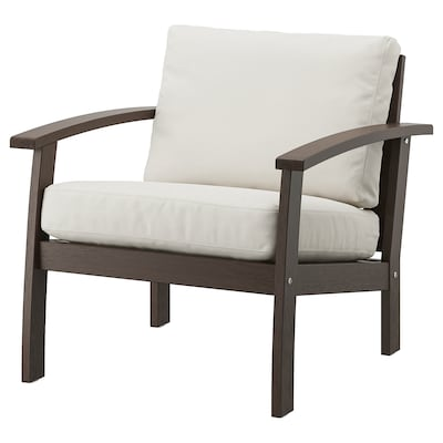 KLÖVEN Armchair, outdoor, brown stained/Frösön/Duvholmen beige, 29 7/8x31 7/8x35 ""