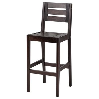 KLÖVEN Bar stool with backrest, outdoor, dark brown