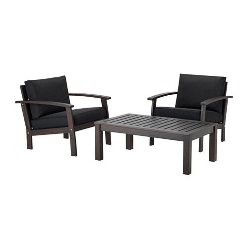 KLÖVEN Conversation set, outdoor, brown stained, Kungsö black black brown stained/Kungsö black