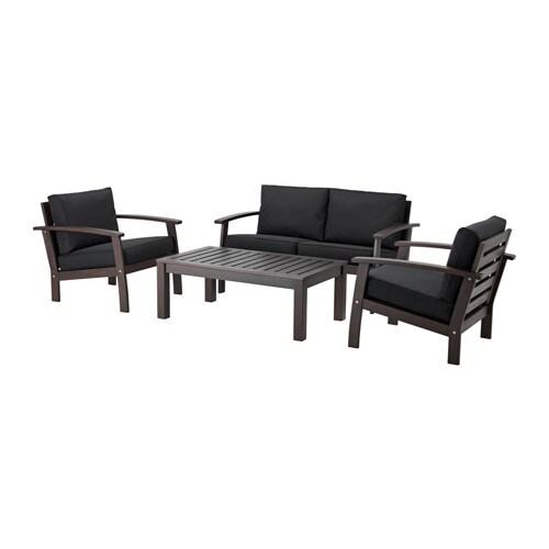 KLÖVEN 4-seat conversation set, outdoor, brown stained, Kungsö black black brown stained/Kungsö black