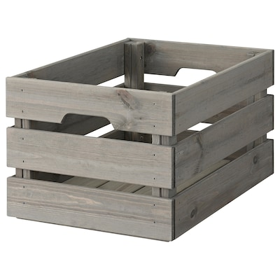 """KNAGGLIG Box, gray stained, 18 1/8x12 1/4x9 7/8 """""""
