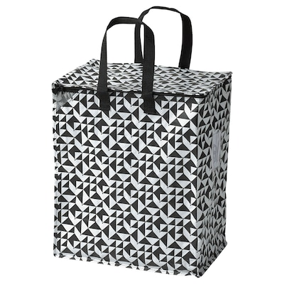 "KNALLA Bag, black/white, 15 ¾x9 ¾x18 ½ ""/12 gallon"