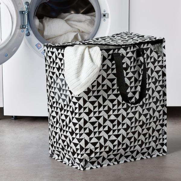 """KNALLA Bag, black/white, 15 ¾x9 ¾x18 ½ """"/12 gallon"""