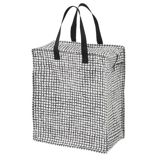 "KNALLA bag black/white 15 ¾ "" 9 7/8 "" 18 ½ "" 22 lb 1 oz 12 gallon"