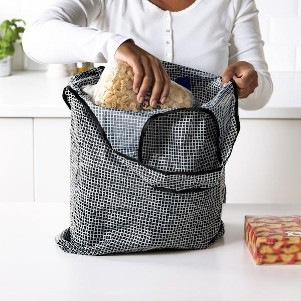 """KNALLA shopping bag black/white 17 3/4 """" 3 7/8 """" 17 ¾ """" 676 oz"""