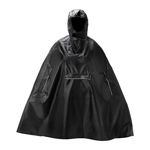 KNALLA Rain poncho IKEA The poncho folds into its own pocket and easily fits in your backpack or briefcase.