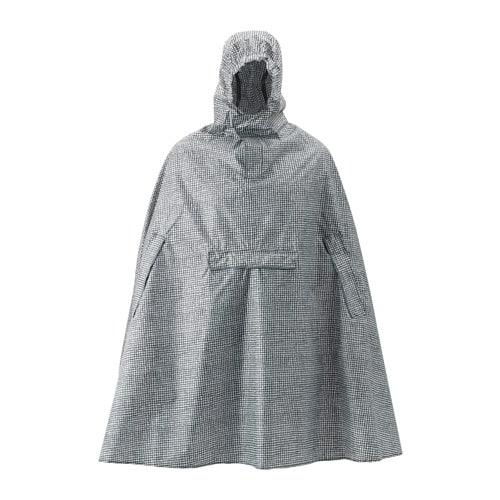 KNALLA Rain poncho, black, white black/white -