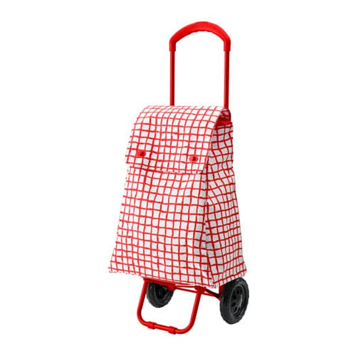 Knalla Shopping Bag With Wheels Red White Ikea