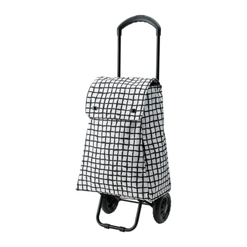 Knalla Shopping Bag With Wheels Black White Ikea