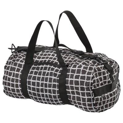 """KNALLA sports bag black/white 21 ¼ """" 12 5/8 """" 1353 oz"""