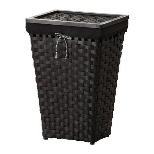 KNARRA Laundry basket with lining, black, brown black/brown -