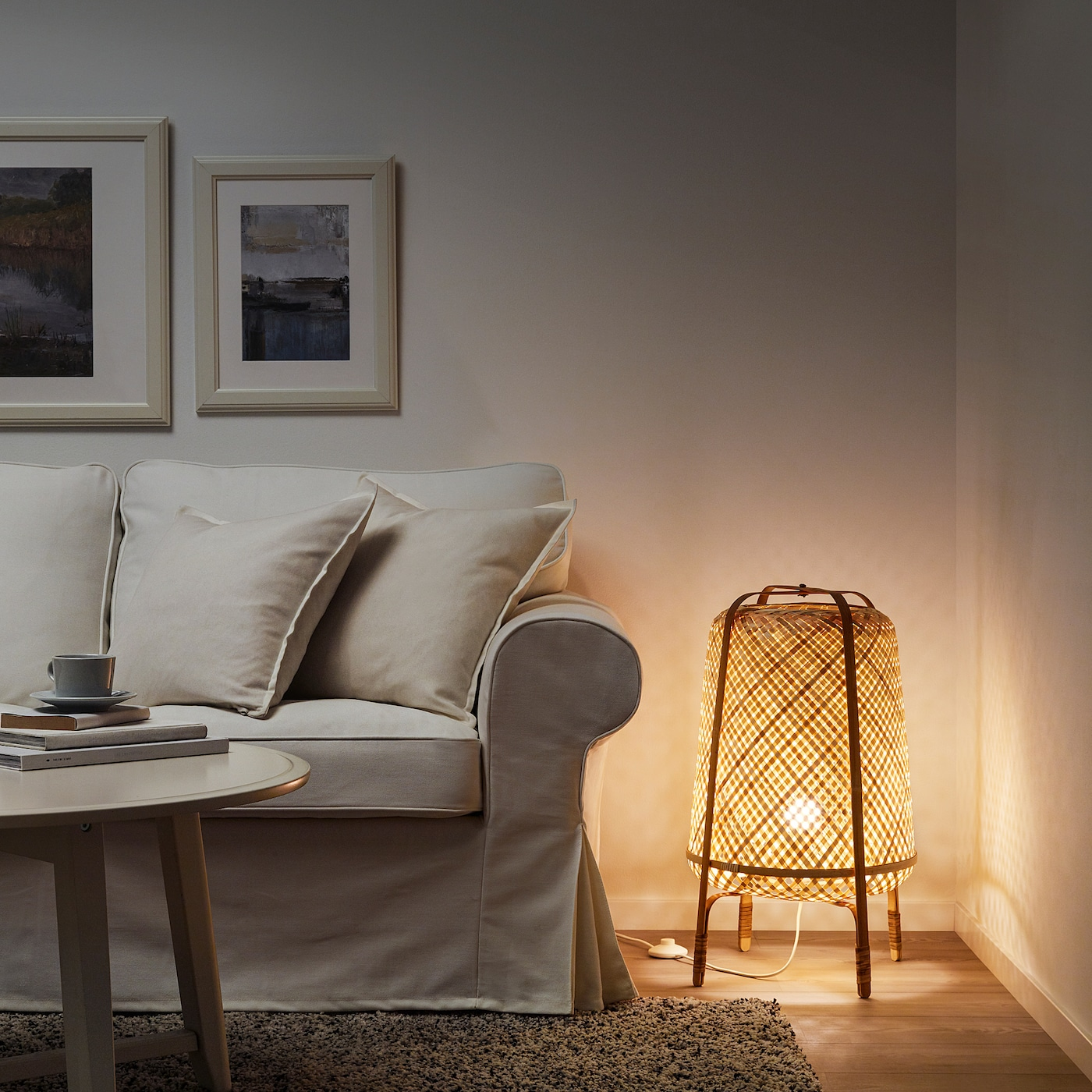 KNIXHULT Floor lamp with LED bulb, bamboo