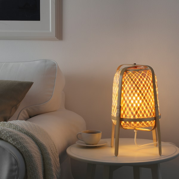 KNIXHULT Table lamp with LED bulb, bamboo