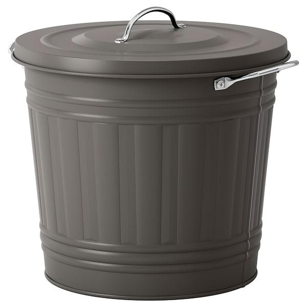 KNODD Bin with lid, gray, 4 gallon