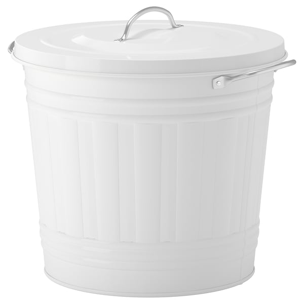 KNODD Bin with lid, white, 4 gallon