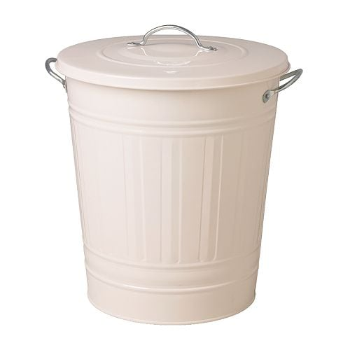 KNODD Bin with lid, white white 11 gallon