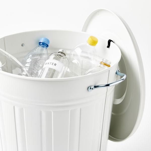 KNODD Bin with lid, white, 11 gallon