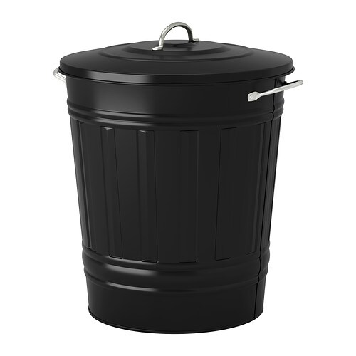 Knodd bin with lid black 11 gallon ikea for Ikea trash cans
