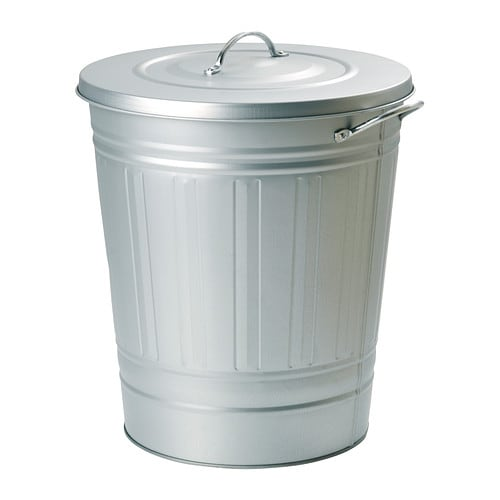 Knodd bin with lid galvanized 11 gallon ikea for Ikea trash cans