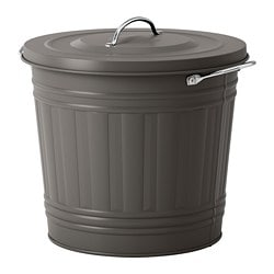 KNODD bin with lid, gray