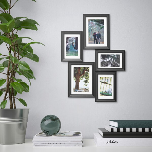 "KNOPPÄNG collage frame for 5 photos black 19 ¾ "" 14 ½ """