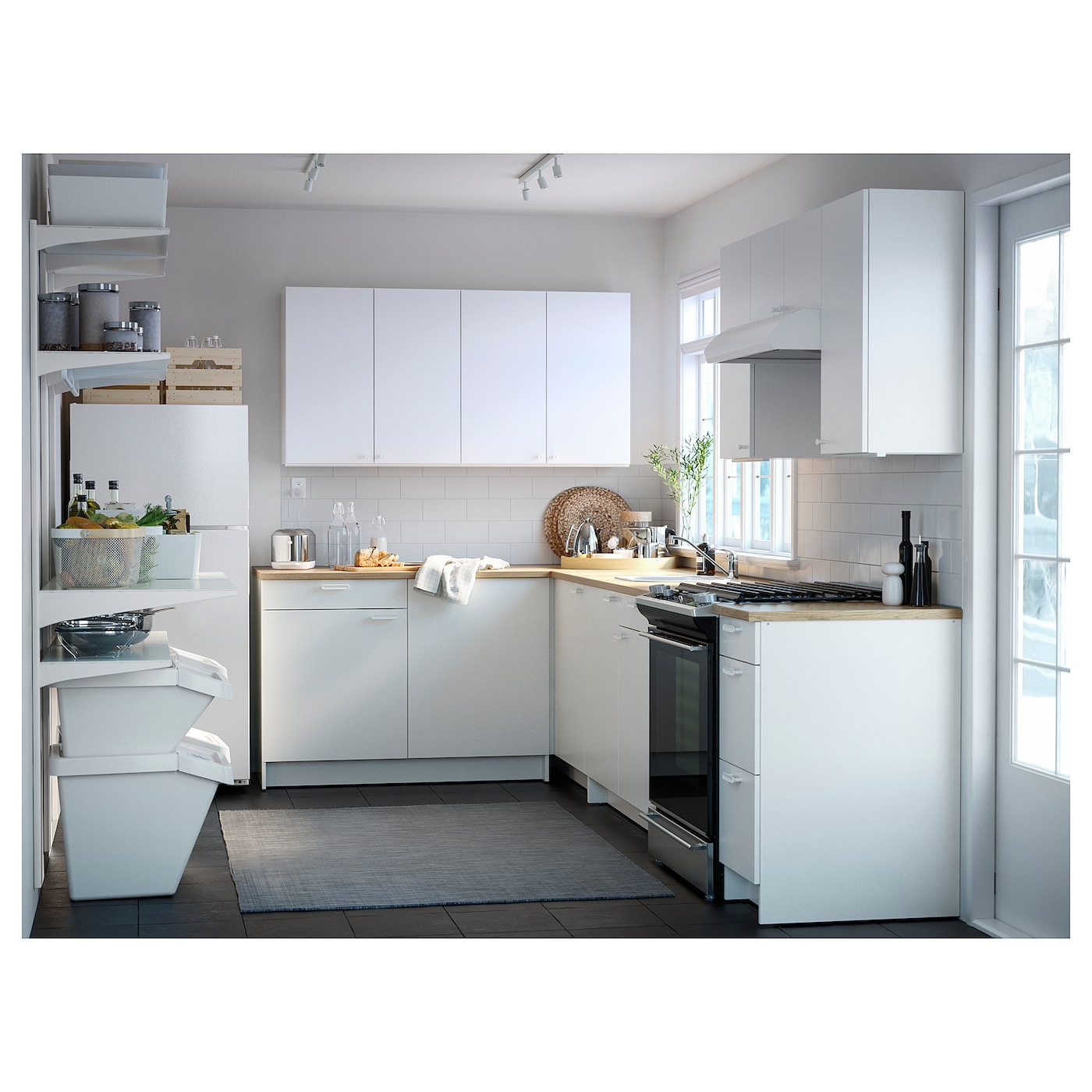 KNOXHULT Base cabinet with doors and drawer   white 9x9x9