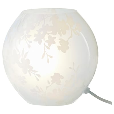 KNUBBIG Table lamp with LED bulb, cherry-blossoms white, 7 ""