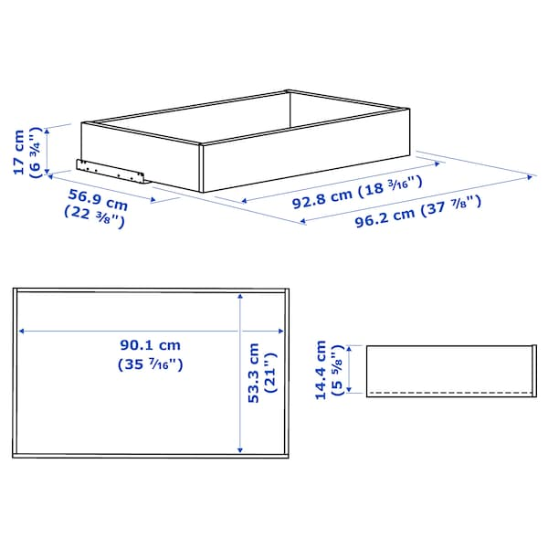 """KOMPLEMENT Drawer with glass front, white, 39 3/8x22 7/8 """""""