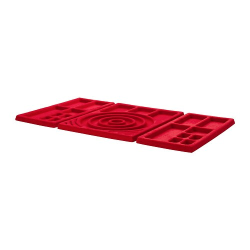 KOMPLEMENT Jewelry insert for pull-out tray IKEA Soft felt protects your accessories and keeps them neatly in place.