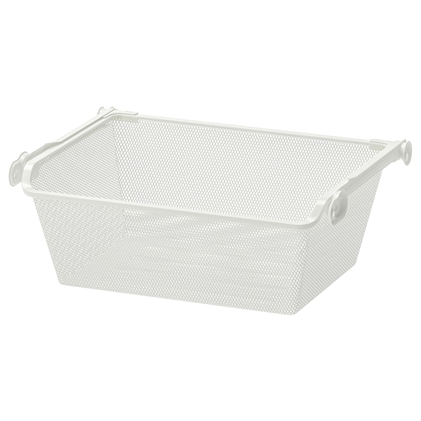 """KOMPLEMENT mesh basket with pull-out rail white 18 1/8 """" 19 5/8 """" 13 1/4 """" 6 1/4 """" 13 3/4 """" 33 lb"""