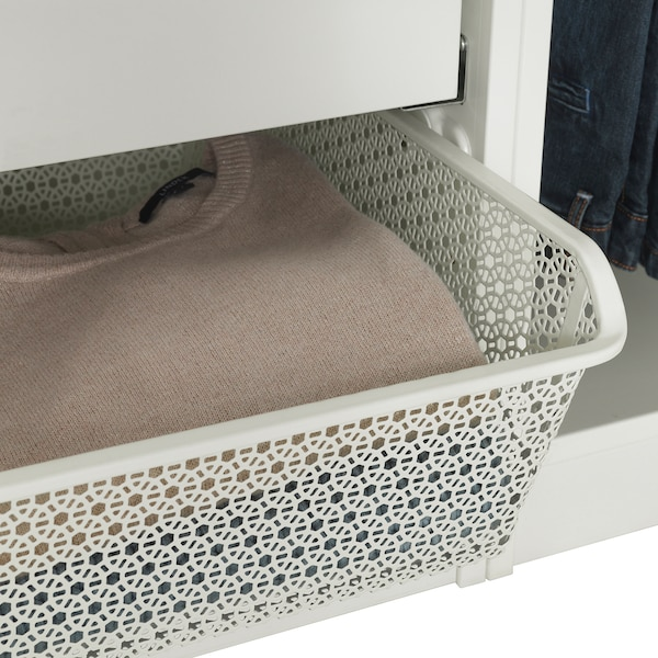 """KOMPLEMENT metal basket with pull-out rail white 38 """" 39 3/8 """" 21 """" 6 1/4 """" 22 7/8 """" 33 lb"""