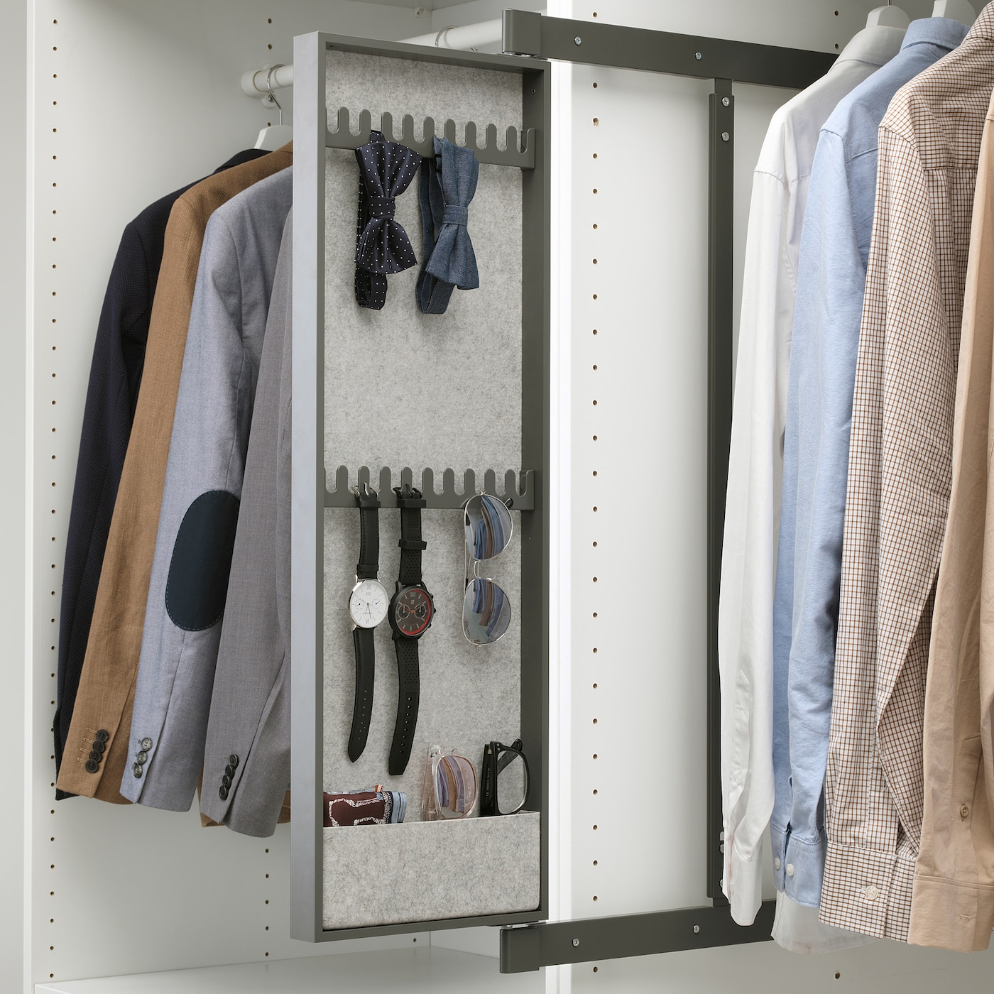 """Armoire D Angle Dressing komplement pull-out mirror with hooks - dark gray 9 7/8x1 3/8x29 1/2 """""""