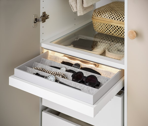 """KOMPLEMENT Pull-out tray with insert, white, 19 5/8x22 7/8 """""""