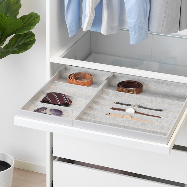 """KOMPLEMENT pull-out tray with insert white 28 """" 29 1/2 """" 22 1/8 """" 2 5/8 """" 22 7/8 """" 22 lb 1 oz"""