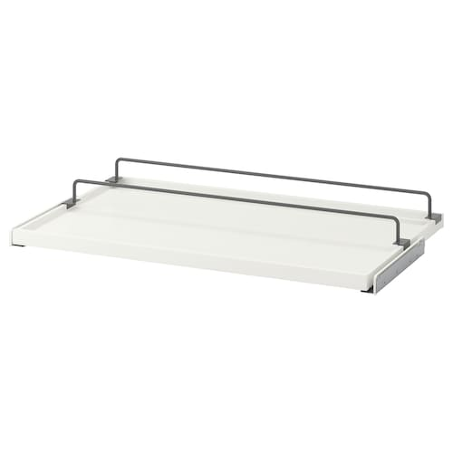 "KOMPLEMENT pull-out tray with shoe rail white/dark gray 38 "" 39 3/8 "" 22 1/8 "" 2 3/4 "" 22 7/8 "" 22 lb 1 oz"