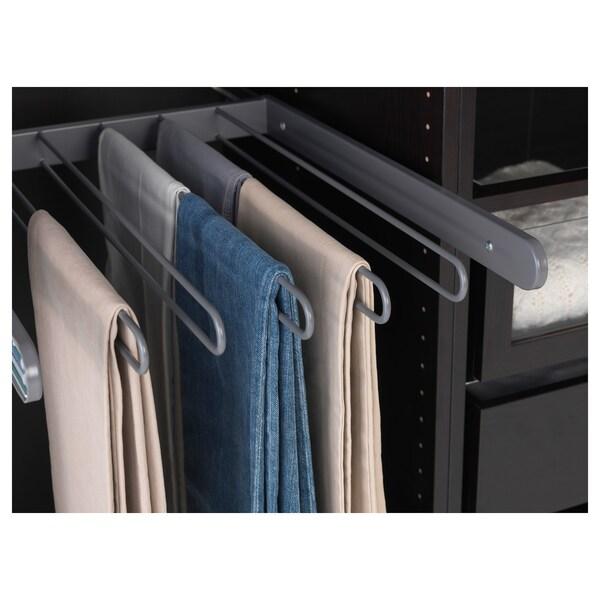 "KOMPLEMENT pull-out pants hanger dark gray 17 "" 19 5/8 "" 22 3/8 "" 1 3/4 "" 22 7/8 "" 17 lb 10 oz"