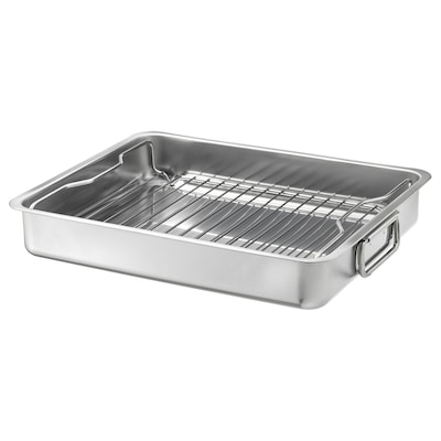 KONCIS Roasting pan with grill rack, stainless steel, 16x13 ""